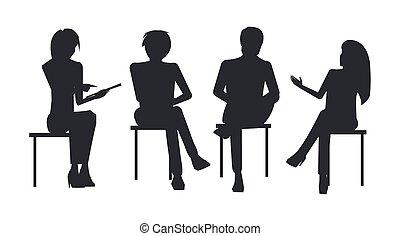 addestramento, affari, sedere, persone, silhouette, nero