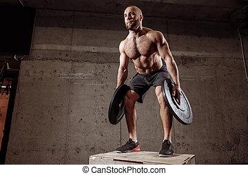addestramento, buono, croce, barbell, dall'aspetto, usando, piastre, uomo