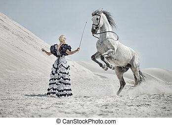 addestramento, cavallo, biondo, attraente
