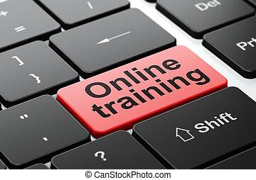 addestramento, computer tastiera, fondo, educazione linea, concept: