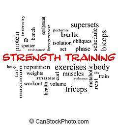addestramento, concetto, parola, cappucci, forza, nuvola, rosso