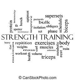 addestramento, concetto, parola, forza, nero, nube bianca