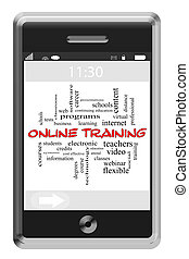 addestramento, concetto, parola, touchscreen, telefono, linea, nuvola
