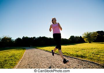 addestramento, donna, adattare, giovane, jogging, correndo