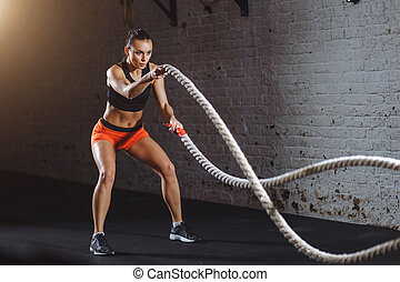 addestramento, donna, fare, funzionale, corda, battaglia,...