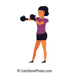 addestramento, donna, guanti, pugilato, idoneità