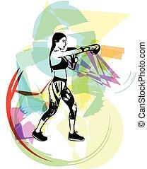 addestramento, donna, palestra, guantoni da box, indossare