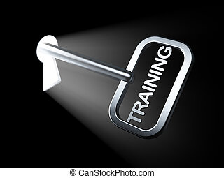 addestramento, educazione, concept:, chiave