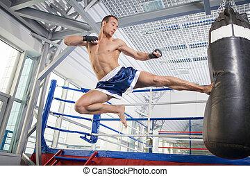 addestramento, fiducioso, kickboxer., giovane, kickboxer,...