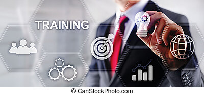 addestramento, finanziario, comunicazione affari, concept., webinar, e-learning., tecnologia
