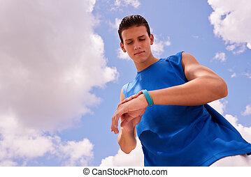 addestramento, fitwatch, contatore, giovane, sport, passi, idoneità, uomo