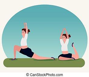 addestramento, idoneità, yoga, esercizio, donne