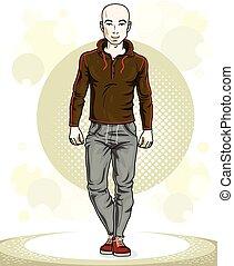 addestramento, lavoro, theme., illustrazione, giovane, posing., sportsman., vettore, glabro, uomo, fuori, bello