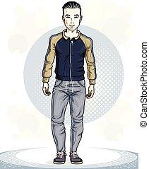 addestramento, lavoro, theme., illustrazione, giovane, posing., sportsman., vettore, uomo, fuori, brunet, bello