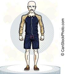 addestramento, lavoro, theme., illustrazione, giovane, posing., vettore, sportivo, uomo, mustaches., glabro, fuori, bello