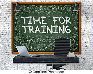 addestramento, -, mano, verde, tempo, chalkboard., disegnato