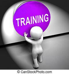 addestramento, mezzi, premuto, educazione, induzione, o, seminario