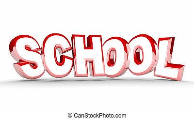 addestramento, parola, studente, scuola, illustrazione, cultura, educazione, 3d