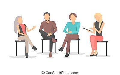 addestramento, persone affari, sedere, discutere, edizioni