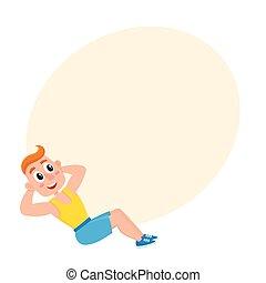 addestramento, sedere, palestra, giovane, ups., esercizi, ...