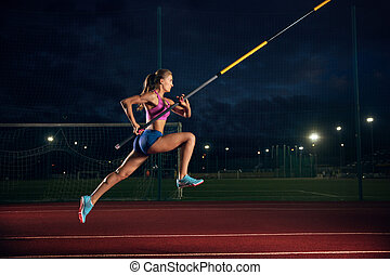 addestramento, sera, femmina, vaulter, polo, stadio