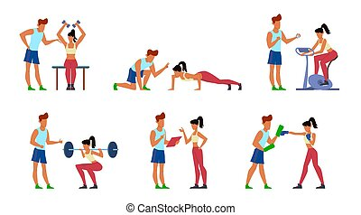 addestramento, set, atletico, palestra, uomini, esercitarsi, sport, attivo, vettore, ginnastica, idoneità, donna, istruttore, jogging, trainer., cartone animato