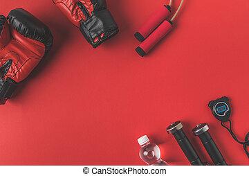 addestramento, spazio, cima, apparecchiatura, pugile, tabletop, copia, rosso, vista