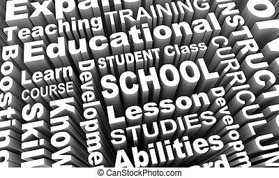 addestramento, studente, render, scuola, illustrazione, cultura, insegnamento, educazione, parole, 3d