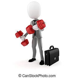 addestramento, successo, affari, uomo affari, 3d, uomo