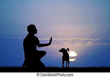 addestramento, tramonto, cane, uomo