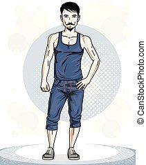 addestramento, whiskers., brunet, lavoro, giovane, illustrazione, theme., posing., vettore, sportivo, uomo, barba, fuori, bello