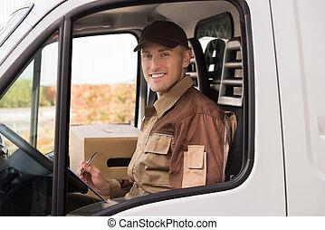 addetto alle consegne, fabbricazione, lista, in, camion