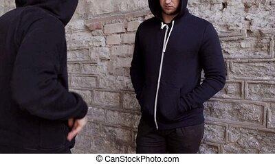 addict buying dose from drug dealer on street 23 - drug...