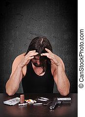 addict man in despair