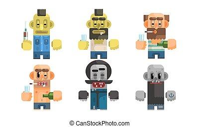 Addict Men Set, Male Characters Having Pernicious Habits, Drug, Alcoholism, Smoking, Vagrancy Vector Illustration