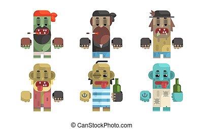 Addict Men Set, Male Characters Having Pernicious Habits, Drug, Alcoholism, Smoking Vector Illustration
