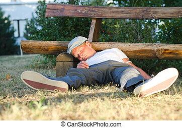Addicted man fallen down on the ground - Man fallen down...