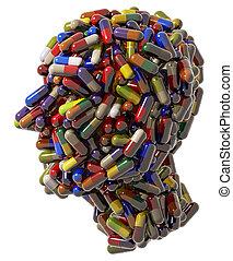addicted - Human head created of medical pills, 3d