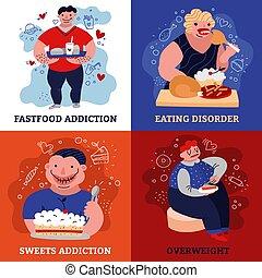 Addiction Concept Icons Set