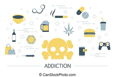 Addiction concept. Social, computer and drug addiction