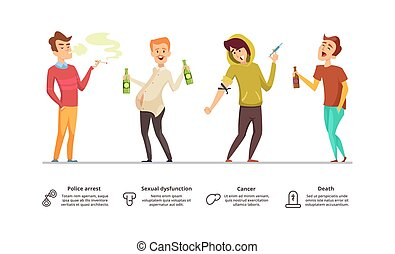 Addiction dangerous. Danger of alcoholism, drugs, smoking illustration. Addiction male vector characters
