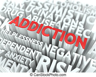 addiction., de, wordcloud, concept.