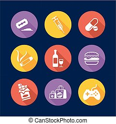 Addiction Icons Flat Design Circle