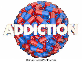 Addiction Pain Killers Prescription Medicine Abuse 3d Illustration