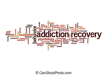 Addiction recovery cloud concept on white background
