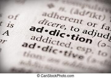 "Addiction - Selective focus on the word ""addiction"". Many ..."