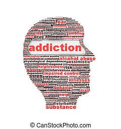 Addiction symbol concept. Substance or drug dependence...