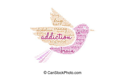 Addiction word cloud on a white background.