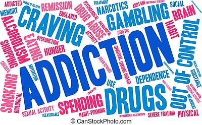 Addiction Word Cloud - Addiction word cloud on a white...