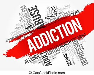 Addiction word cloud collage